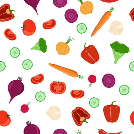 Vegetables seamless pattern. Objects on a white background. Vector illustration. 矢量图像