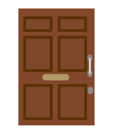 Brown closed front door. Isolated on a white background. Flat design. Vector illustration. 矢量图像