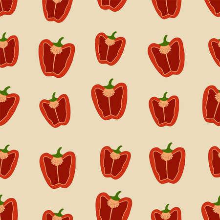 Red sweet pepper cut in half. Seamless pattern of vegetables. Vector illustration. 矢量图像