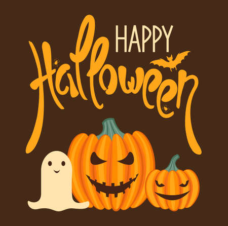 Happy Halloween banner. The poster is decorated with pumpkin lanterns and a ghost. Cute cartoon style. Vector illustration.