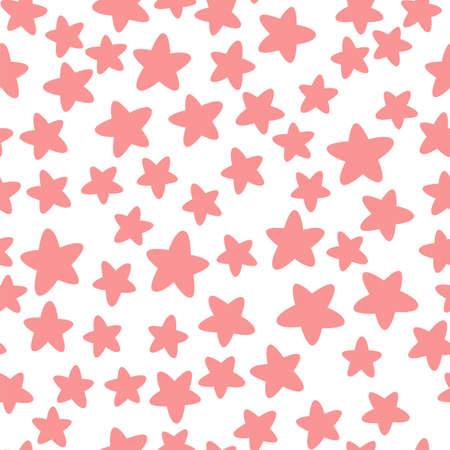 Pink stars on a white background. Cute seamless pattern. Vector illustration. 矢量图像