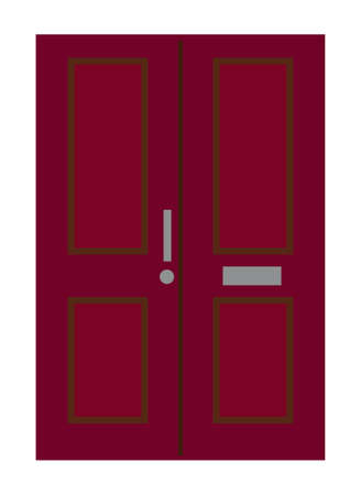 Front door. Isolated on white background. Flat design. Vector illustration.