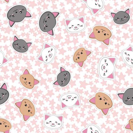 Cute cartoon cats on the background of stars. Kawaii kittens seamless pattern. Vector illustration. 矢量图像