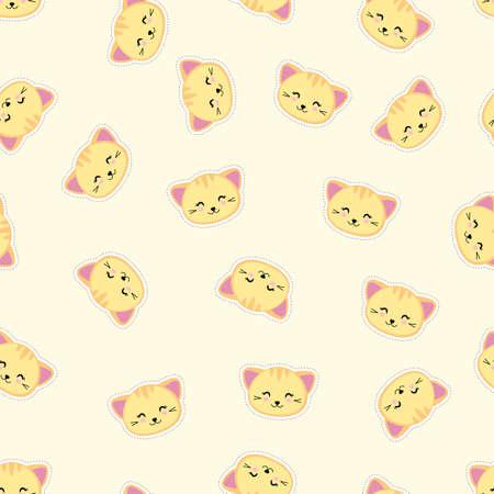 Cute cartoon cats seamless pattern. Kawaii yellow kittens. Vector illustration. 矢量图像