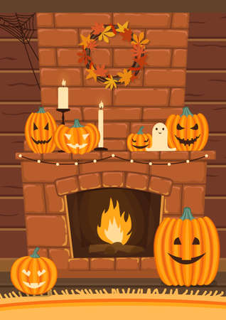 Fireplace decorated for Halloween. Pumpkins, candles, and wreath of autumn leaves. Cartoon style. Vector illustration.