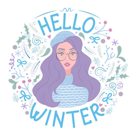 Hello winter. Cute woman in knitted hat and sweater. Sticker, poster. Isolated objects on white background. Vector illustration.