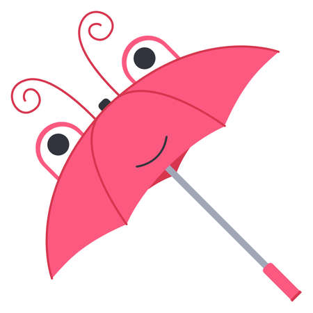 Children's umbrella in the form of an insect head. Cute pink butterfly. Isolated on a white background. Vector illustration. 矢量图像