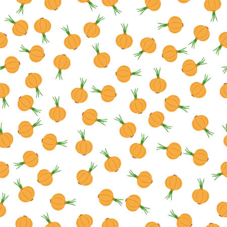 Onion seamless pattern. Vegetables on white background. Vector illustration. 矢量图像