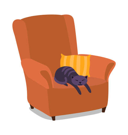 The cat sleeps in soft brown chair. Retro style. Isolated on a white background. Vector illustration.