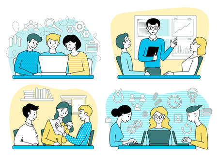 People in the office. Teamwork. Set of business concepts. Vector illustration.