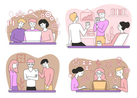 Teamwork. People in the office. Set of business concepts. Black outline. Vector illustration.