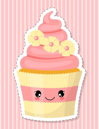 Cute cupcake character. Cake decorated with pink cream and sugar flowers. Cartoon style. Vector illustration.