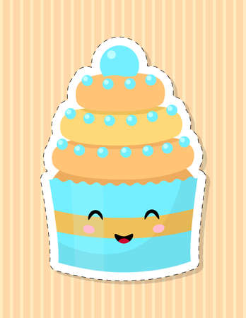 Cute cupcake character. Smiling face in the style . Vector illustration. 矢量图像