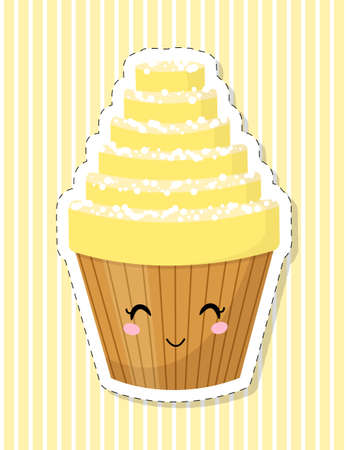 Cute cartoon cupcake character. Cake decorated with whipped cream. Sticker. Vector illustration.