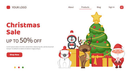 Christmas sale landing page. Banner template for a website with cute cartoon characters. Vector illustration.