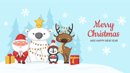 Merry Christmas and happy new year greeting card. Cute funny animals and Santa Claus. Vector illustration. 矢量图像