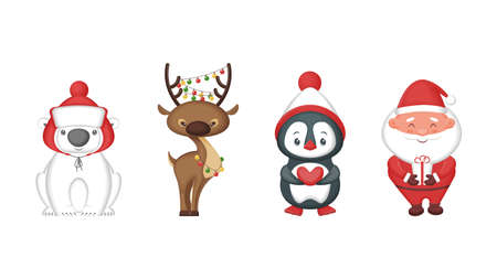 Cute cartoon Christmas characters. Animals and Santa Claus. Isolated on white background. Vector illustration.