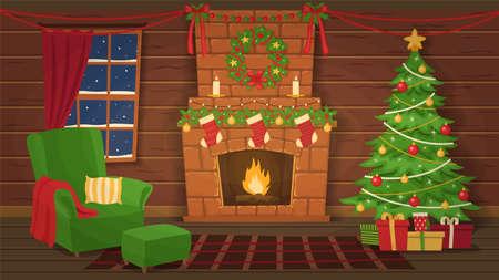 Christmas interior. Armchair and christmas tree near the fireplace. Vector illustration.