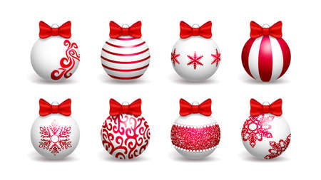 Set of white Christmas balls decorated with red patterns and bows. Isolated on white background. Vector illustration.