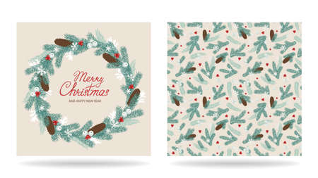Merry Christmas and happy new year greeting card with wreath of fir branches and cones. Set of templates. Vector illustration. 矢量图像