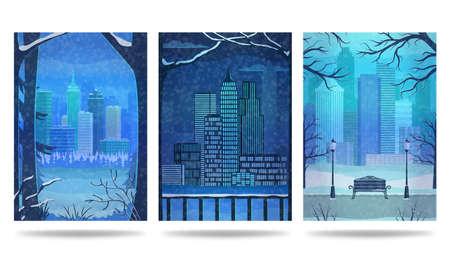 Urban winter landscape. Cityscape. City park. Set of vertical banners. Vector illustration.