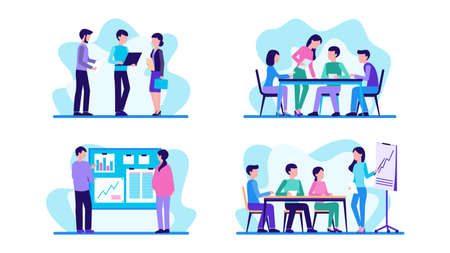 People work in office. Set of concepts. Teamwork, communication, meeting. Vector illustration.