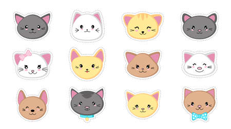 Faces of cute cartoon kittens. Set of cat stickers in kawaii style. Isolated on a white background. Vector illustration. 矢量图像