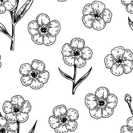 Spring flowers seamless pattern with hand drawn design elements. Vector illustration in sketch stile. Vektorové ilustrace