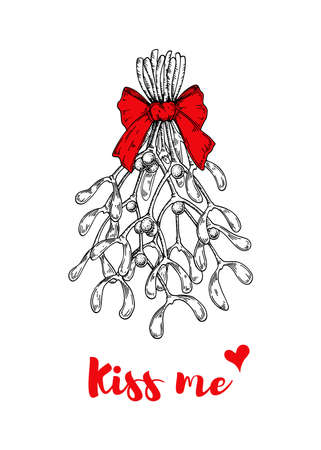 Christmas card with hand drawn mistletoe bouquet with bow isolated on white background. Vector illustration in sketch style. Kiss me under mistletoe Vecteurs