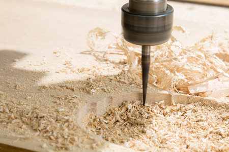 Rotary milling cutter, wooden board and shavings Stok Fotoğraf