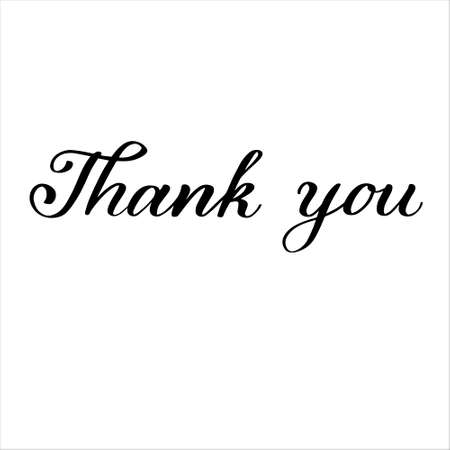 Thank you hand lettering typography illustration for card postcard poster print