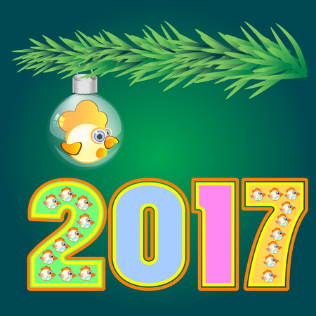 vector rooster happy symbol of 2017new year