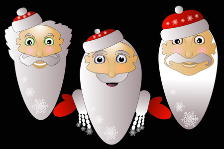 Santa Claus icon vector simple easy editable on a white background together in Troy on a black background.