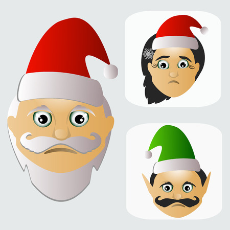 st  nick: Santa Claus fashion icon easy editable on white background together with miss Santa and elf vector illustration