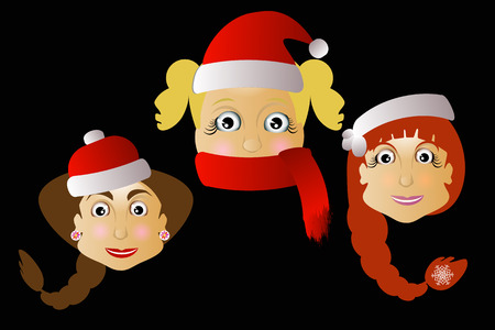 Mrs. Santa Klausy cheerful vector three together on a black background