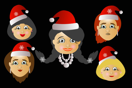 mrs santa claus: miss Santa Claus head icon several different lot button key to press to click will be on a black background. Illustration