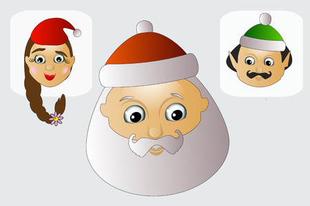 Santa Claus head. icon. vector background white