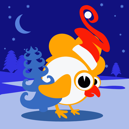 Year 2017 new chinese chicken lunar bird concept of the Rooster. Grunge vector file organized in layers for easy editing. It may be used for design of a t-shirt, bag, postcard, a poster and so on.