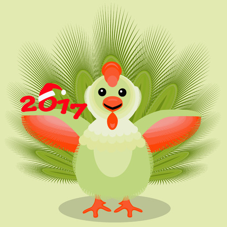 the icon picture a cockerel with feathers green, with a fluffy smart tail. two thousand seventeenth 2017 on a light fone.simvol Christmas a rooster chicken bird. to use for design, the press, t-shirts. vector illustration.