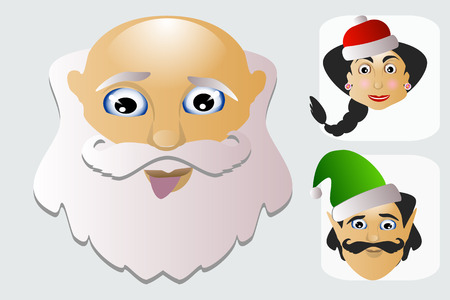 saint nick: Santa Claus fashion icon easy editable on white background together with miss Santa and elf vector illustration