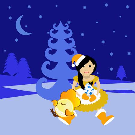 maiden: Miss Snow Maiden Santa Claus with symbol 2017 rooster chicken chicken egg Illustration