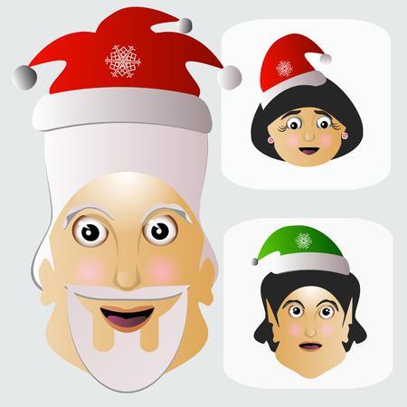 mrs  santa claus: Santa Claus plain simple ordinary light with Mrs Santa Claus and an elf.