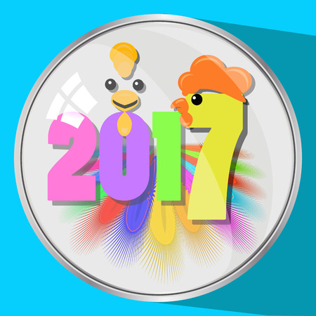 the icon picture the button a feather reflection glass number two thousand seventeenth 2017 on a blue fone.simvol Christmas a rooster chicken bird. to use for design, the press, t-shirts. vector illustration