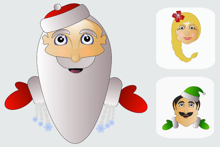 mrs santa claus: Mrs. agd ms. Claus elves head on white background three Illustration