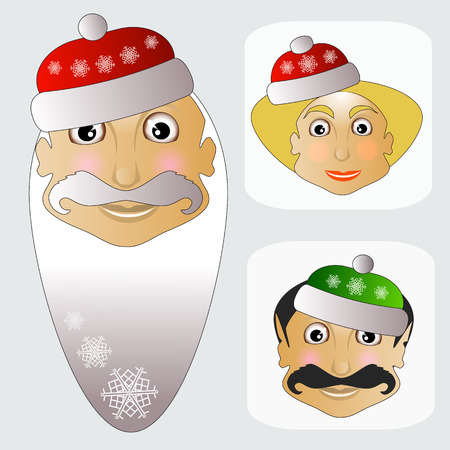 Santa Claus fashion icon easy editable on white background together with miss Santa and elf vector illustration
