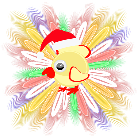 icon picture cockerel symbol Christmas rooster chicken. with feathers. to spend for design, the press, t-shirts. vector illustration. vector illustration Stock Photo