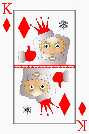 Vector Santa Claus is a playing card king suit diamonds, bells.