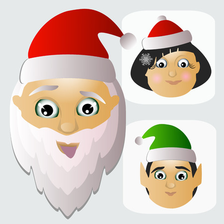 mrs  santa claus: Santa Claus icon bead and Mrs. and assistants-elves are team happy Christmas.