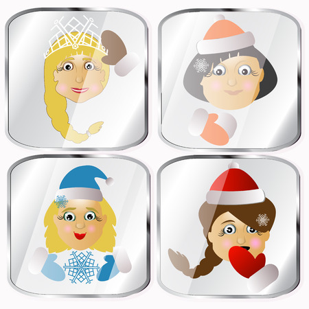 mrs  santa claus: Icons, pictures, pendents about four Mrs. Santa Claus a vector on a gray background happy holiday