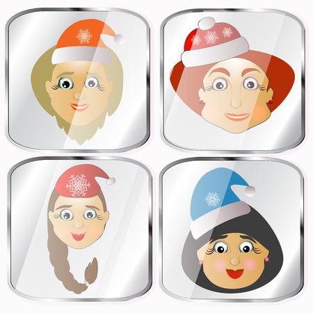 señora: Iconos, imágenes, Pendents unos cuatro Señora Santa Claus un vector sobre un fondo gris día de fiesta feliz
